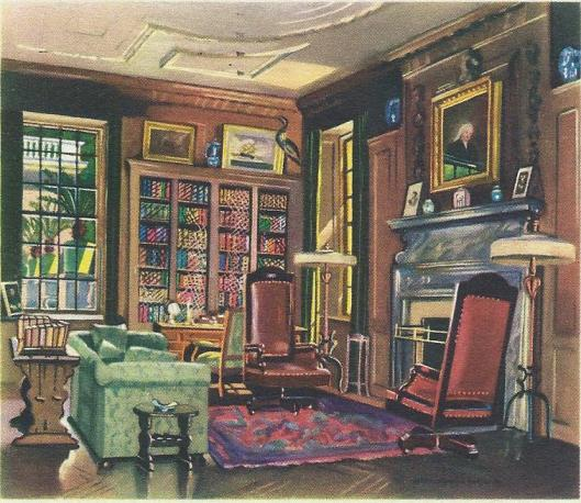 Library in Home of Franklin D.Roosevelt.Painting by Ruth Perkina Safford.