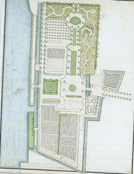 Plattegrond van de buitenplaats Oosterhout uit 1762 (Noord-Hollands Archief)