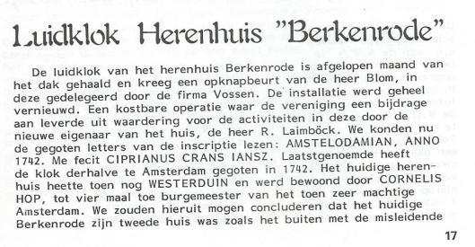 Luidklok van Westerduin/Berkenrode. Uit: Nieuwsbrief VOHB, nummer 48, 1986