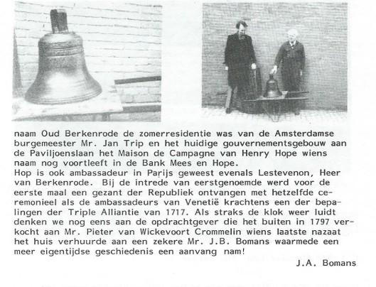 Vervolg luidklok/Berkenrode. Uit: Nieuwsbrief VOHB, nr.48, 1986.