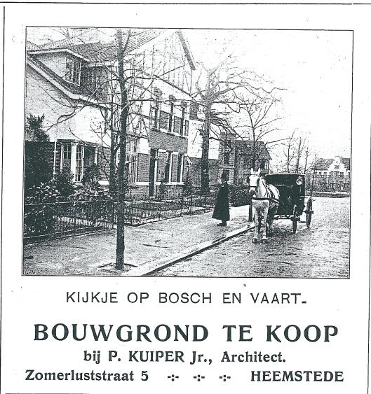 Adv. Bosch en vaart van architect P.Kuiper jr. uit Zondagdblad O.H.C., 9 augustus 1909