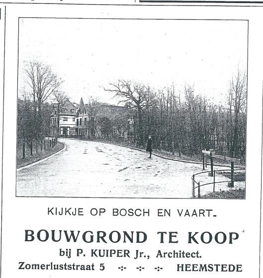 Advertentie bouwgrond Bosch en baart te koop via architect P.Kuiper Jr. uit Zondagsblad O.H.C., 27 september 1909