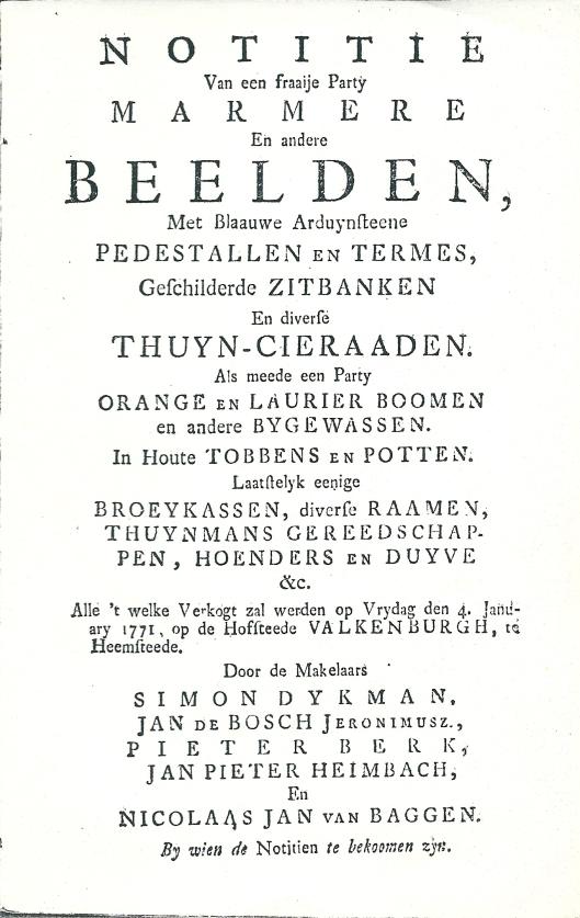Titelblad van Voorzijde van veilingcatalogus roerende goederen op hofstede Valkenburg, 4 januari 1771