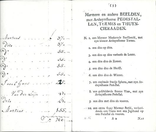 Vervolg veiling marmeren en andere beelden etc. Valkenburg in 1771