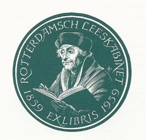 Exlibris van het Rotterdamsch Leeskabinet uit 1959