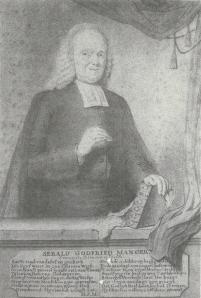 Sebald Godfried Manger (1703-1795) was van 1-2-1728 tot 17-7-1729 predikant te Heemstede. Potloodtekening uit 1778 van N.Rijnenburgh (Iconografisch Bureau)
