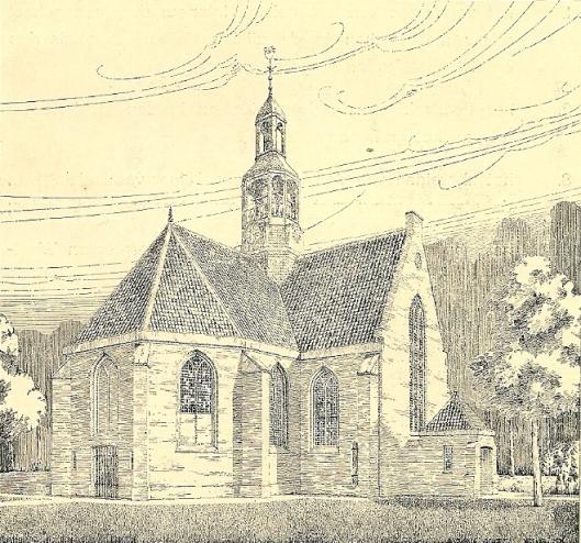 Tekening van de Oude Kerk uit 1938