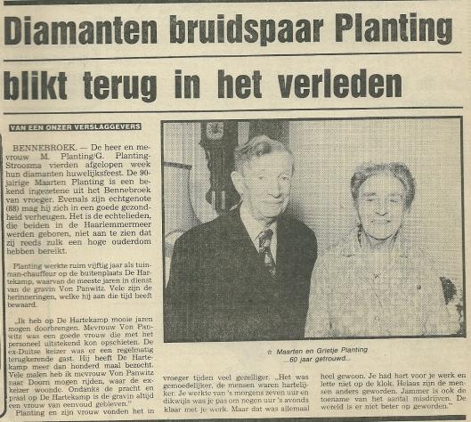 Artikel uit de Heemsteedse Koerier van 4 mei 1983 naar aanleiding van 60-jarig huwelijksjubileum van de heer Maarten Planting en Grietje Stroosma in Bennebroek
