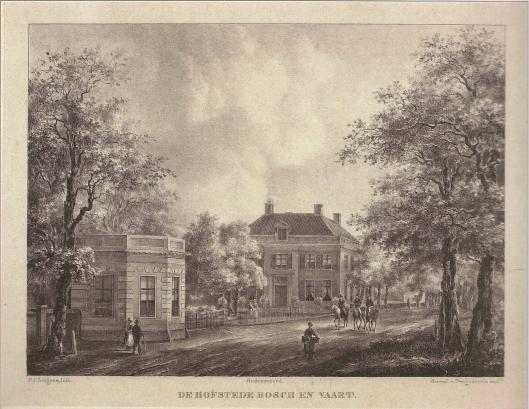 De hofstede Bosch en Vaart op een steendruk van P.J.Lutgers, circa 1840