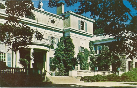 Postcard of the Home of Franklin D.Roosevelt. National Historic Site, Hyde Park, New York. This Home, grave and 33 acres of land were designated as a National Historic Site January 1944, and opened to the public April 12, 1946.