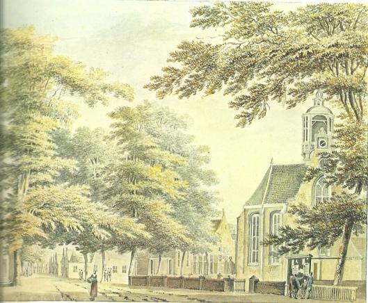 Het dorp Heemstede met de Gereformeerde/Hervormde Kerk en vooraan een publicatiebord met mededelingen. Tekening van Hendrik Tavenier, uit omstreeks 1775 (Noord-Hollands Archief)