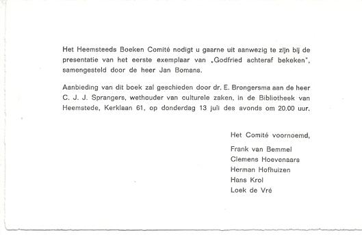 Uitnodigingskaart voor presentatie van het boek 13 juli in de openbare bibliotheek van Heemstede