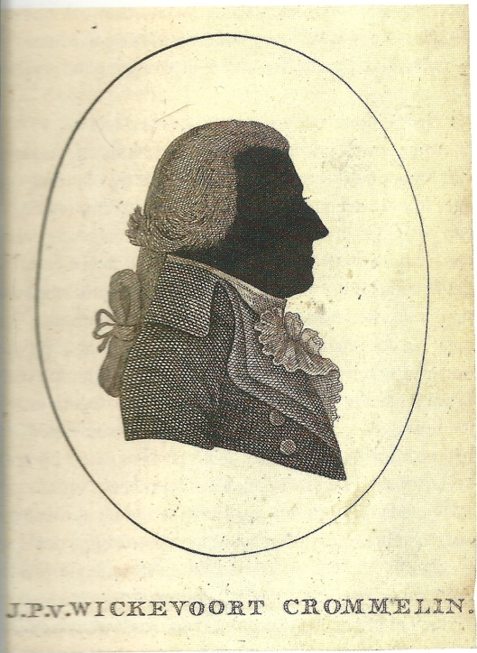J.P.van Wickevoort Crommelin in 1795 als silhouet afgebeeld.