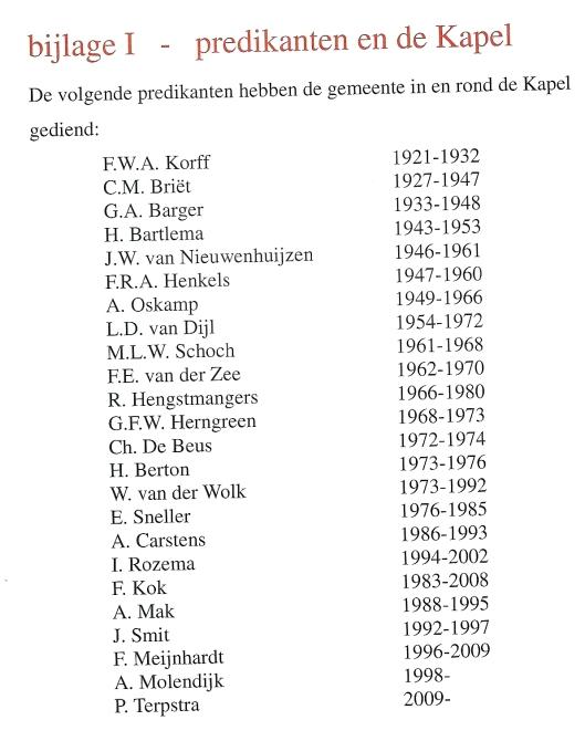Overzicht predikanten Kapel Nieuw-Vredenhof