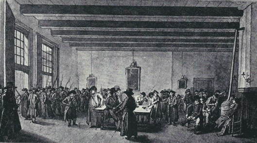 'De kamer der geweesen burger sociëteit in de Goude Leeuw, verbeeld 19-1-1795 door Wybarnd Hendriks toen men bij de Omwenteling gewapend naar Markt trok. O.a. I.W.van Sijpesteyn, B.Tersier, J.J.Cambier, I.C.Sterk, J.Broese, L.Kulendaal, Joh. Enscghedé, G.Kops, W.A.Lestevenon en J.W.Druivestein