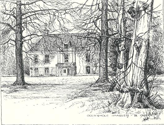 Het buiten Oosterhout, pentekening door Dingeman Korf uit 1948