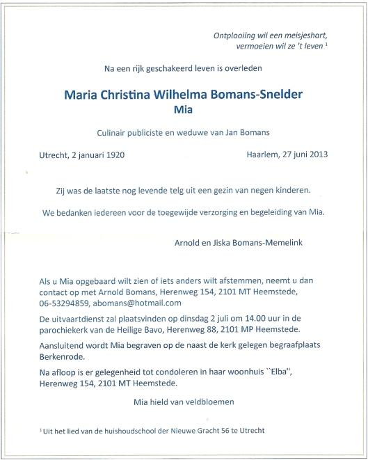 Overlijdensbericht Mia Bomans-Snelder