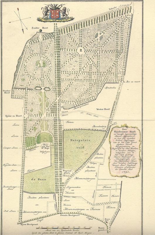 Deel van kaart Haarlemmerhout door Daniel Engelman uit 1791 met ligging van Oosterhout