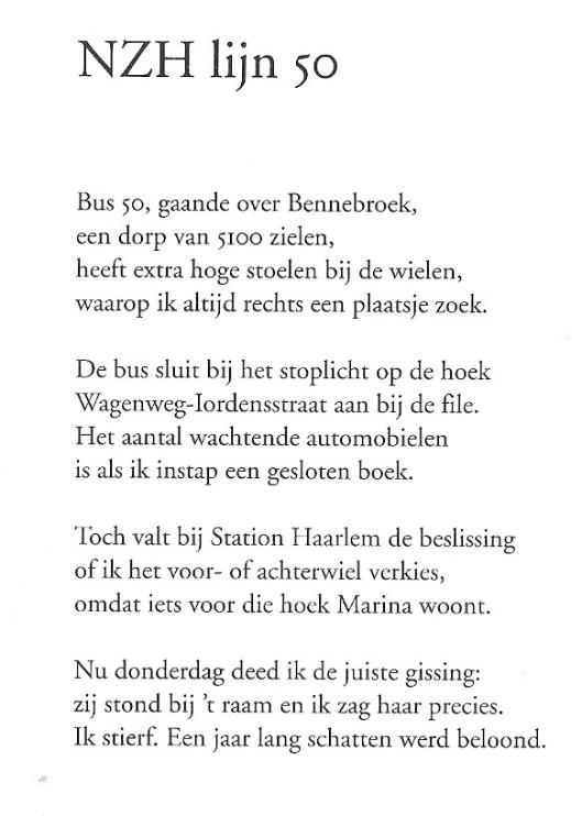 Het vers 'NZH lijn 50' van Jan Kal