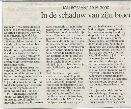 Necrologie jan Bomans door Kees ter Linden, in Haarlems Dagblad van 11-11-2000