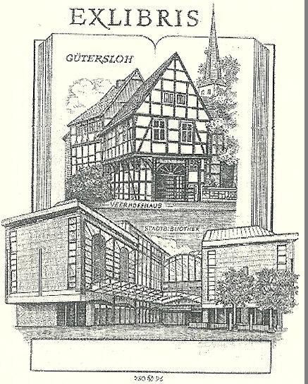 Oswin Volkamer: Exlibris Gütersloh. Kopergravure uit 1996