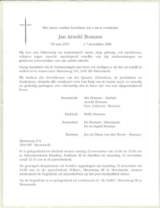 Overlijdensbericht J.A.Bomans