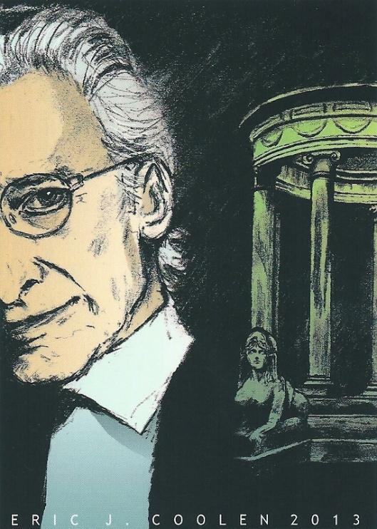 Harry Mulisch en de koepel van Eindenhout. Ansichtkaart vervaardigd door Eric J. Coolen in 2013