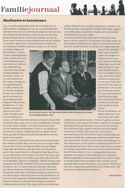 Muzikanten en kunstenaars: Andriessen. Door Roel de Neve. Uit: Genealogie, jrg. 19, nummer 4, december 2013.