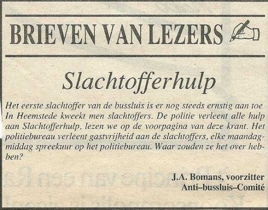 J.A.Bomans schreef honderden 'ingezonden stukken', veel in relatie tot het verkeer. Hier uit de Heemsteedse Courant van 23-11-1990 als voorzitter Anti-bussluis-comité Johan Wagenaarlaan.