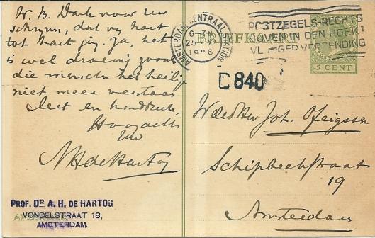 Briefkaart met handschrift van dr.A.H.de Hartog