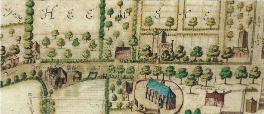 Uitsnede van kaart centrum Heemstede door Balthsar Floriszoon van Berkenrode. Onder de kerk en achter de Voorweg tegenover de kerk de buitenplaats Valkenburg