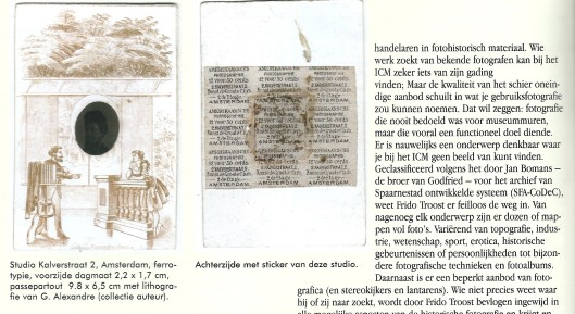 Het door Jan Bomans ontworpen classificatiesysteem voor foto's, overgenomen door het Institute for Concrete Matter' van Frido Troost in Haarlem. Uit een artikel door Flip Bool, in: Boekenpost, nummer 122, bov/dec 2012.