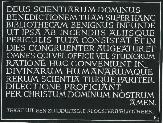 Tekst uit een Zuidduitse kloosterbibliotheek, gekalligrafeerd door Pam G.Rueter