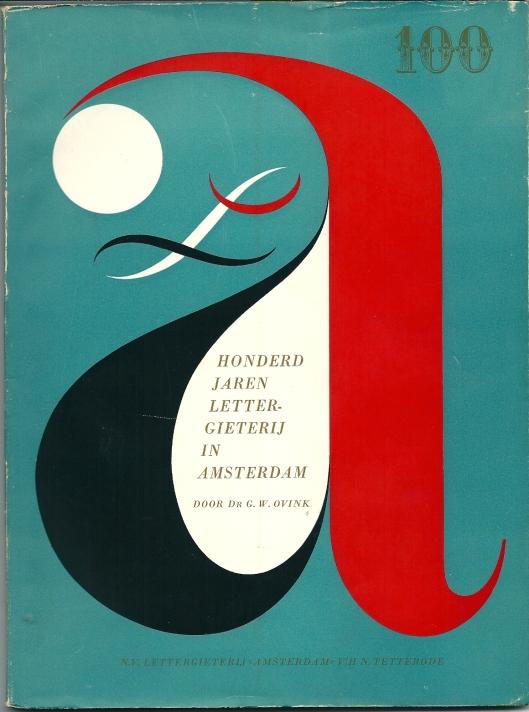 Vooromslag brochure Honderd jaar Lettergieterij in Amsterdam; door G.W.Ovink, 1951