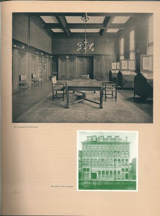 Typografische Bibliotheek en gebouw Da Costakade. Uit: Honderd jaar Lettergieterij in Amsterdam [vh. Tetterode].