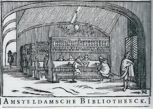 Vignet van de Amsterdamse boekhandelaar Lodewijck Spillebout, 1650-1659, volgens H.de la Fontaine Verwey met voorstelling van de librije in de Nieuwe Kerk
