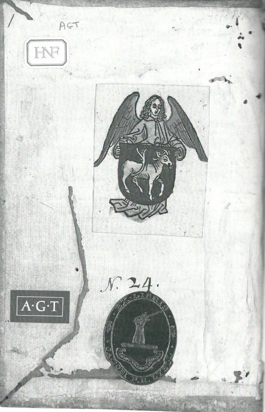 Binnenzijde vand an Gerhard van Zutphen, Tractatus de spiritualibus ascensionibus. Handschrift 15e eeuw met ex libris van Hilprand van Buxheim. Bibliotheca Philosophica Hermetica.