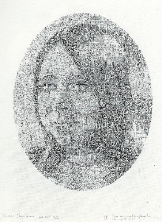 'Mieneke', 1979, litho door Jurriaan Andriessen, verschenen in een oplage van 40 exemplaren. Uit: 27 portretten van Nederlandse kunstenaars. Galerie de Bleeker Heemstede, 1990.