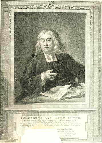 Theodorus van Schelluyne (1692-1776). Portretgravure van Reinier Vinkeles uit 1768.
