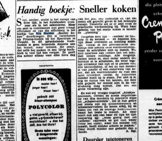 Bespreking van 'Sneller koken' door Mia Snelder. Uit: De Tijd 8-6-1957