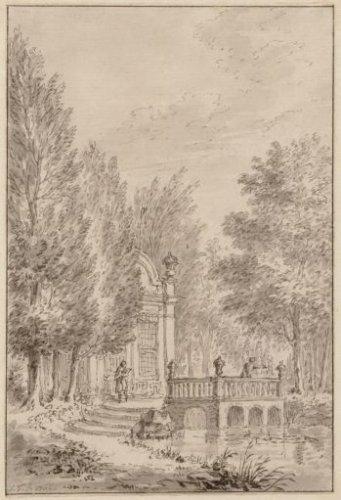 Op de buitenplaats Westerduin. Tekening van Simon Fokke, 1762 (Stadsarchief Amsterdam)