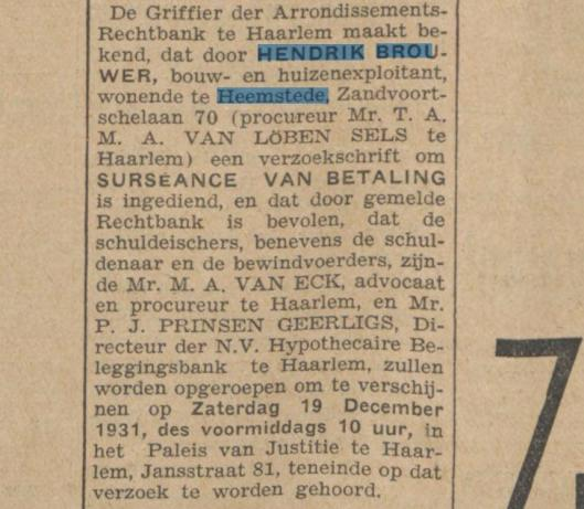 Bericht uit het Algemeen Handelsblad van 3 november 1931.
