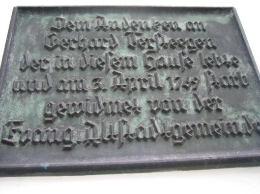 Plaquette aan de geven van het Tersteegen-museum