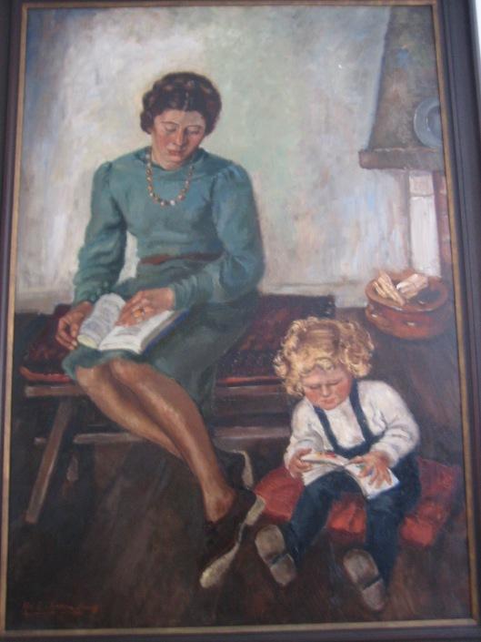 Schilderij van Helena Elizabeth Goudeket, voorstellende haar zuster Rebecca Bloeme von Hartsveld Müller, geboren Goudeket en zoontje Peter. beiden lezend afgebeeld.