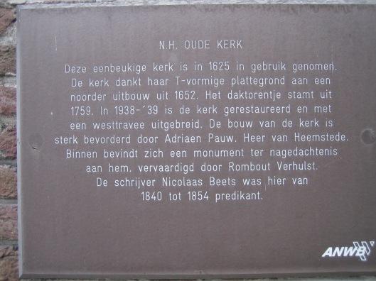ANWB-monumentenbordje aan de gevel van de Oude Kerk in Heemstede. Nader onderzoek heeft geleerd dat dat niet Rombout Verhulst het grafmonument vervaardigde, maar de Amsterdamse stadstimmerman en -architect Pieter de Keyser (1595-1679), een zoon van Hendrik de Keyser.