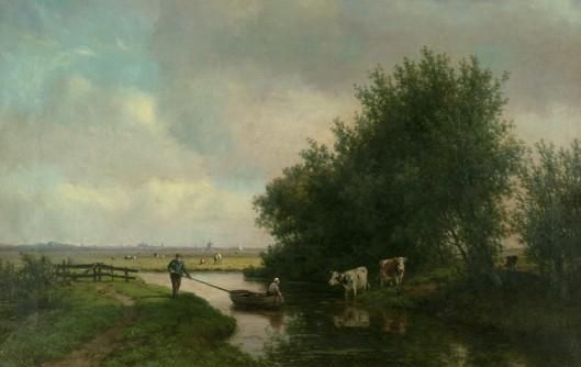Landschap rond 't Klooster Heemstede met Haarlem in het Noorden aan de horizon; door Willem Vester [voor 4000 euro geveild]