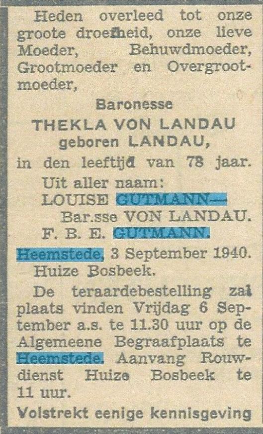 Familiebericht in Algemeen Dagblad van 4 september 1940