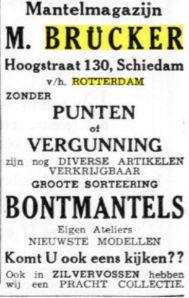 Advertentie van mantelzaal M.Brücker, Hoogstraat 130, Schiedam. Uit: De Maasbode, 15-11-1940.