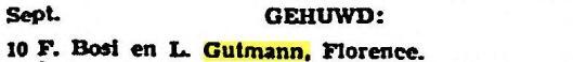 Melding van huwelijk Lili Gutmann in Florence (Het Vaderland, 13-9-1938), in welke plaats zij nog altijd woont.