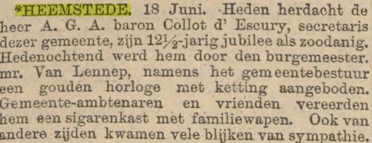 Jubileum A.G.A.Baron Collot d'Escury. In 1906 nam hij ontslag als gemeentesecretaris(Algemeen Handelsblad, 18-6-1904)